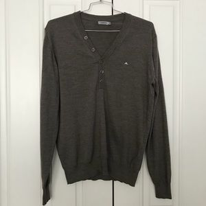 J. Lindeberg Brown Latte 100% Wool V Neck Sweater
